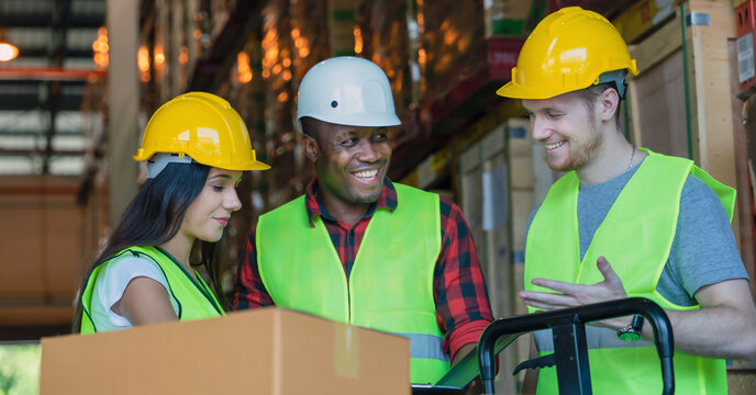 diverse factory warehouse working team working together as teamwork