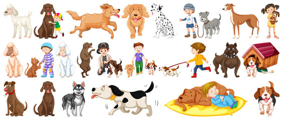 Fotobehang Hoogte schaal Set of cute dogs and kids isolated on white background