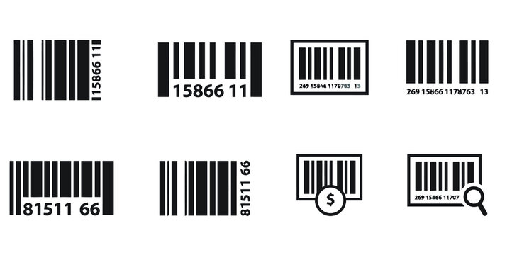 Realistic Bar code icon set.  Universal Product Scan Code. UPC Bar Code Scan Symbol. Barcode sign. Vector concept illustration for design.