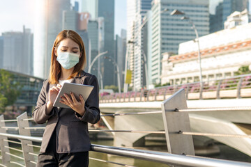 Asian business woman wearing face mask every time outside the house, as new normal trend and...