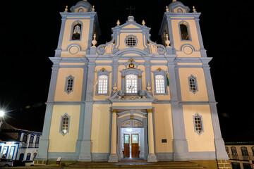 Front view of Cathedral Metropolitan de Diamantina (Metropolitan cathedral) illuminated at night, Minas Gerais, Brazil