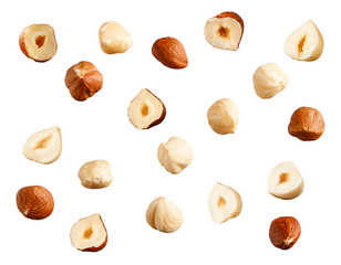 Full and halfs of hazelnuts on white background.