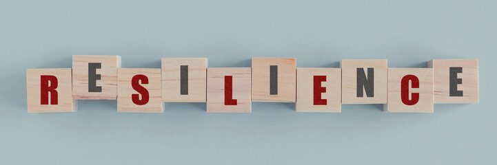 Wooden blocks with RESILIENCE word