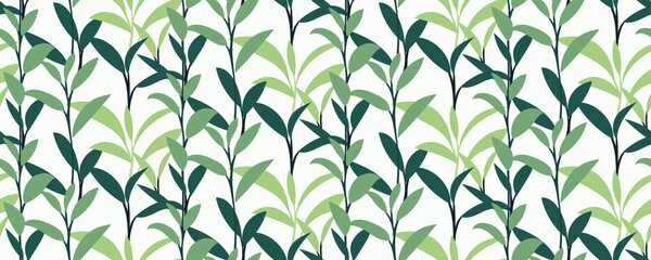 Green leaves seamless pattern. Silhouettes of tea sprigs background. Botanical print, perfect for fabric, packaging paper, wallpaper, fashion design, interior, wrap... Vector illustration.