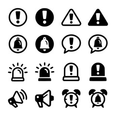 Alert and reminder icon set vectorsymbol collection isolated on white background Icon, Alert, Reminder, Black, Line, Caution, Forget