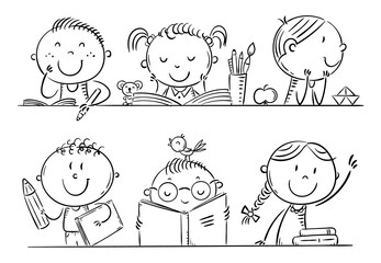 Wall Mural - Cartoon kids in the classroom at school sitting at their desks, outline cartoon illustration