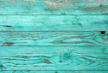 Printed roller blinds Wood Weathered blue wooden background texture. Shabby wood teal or turquoise green painted. Vintage beach wood backdrop.