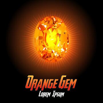 Orange Gem color on Color background with flair color. Vector illustration