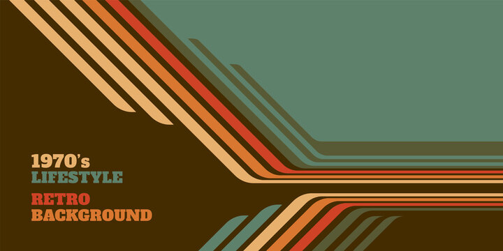 Abstract 1970's background design in simple retro style with stripes. Vector illustration.