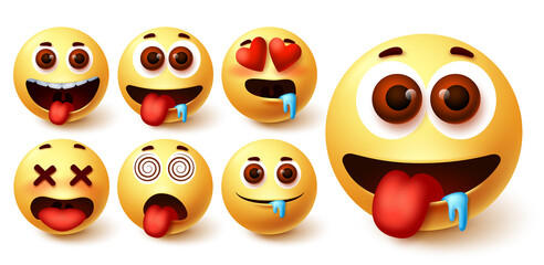 Emojis smiley emoticon vector set. Emoji avatar character face in hungry, silly, in love, happy and dizzy feelings and emotion for sign and symbol design element. Vector illustration
