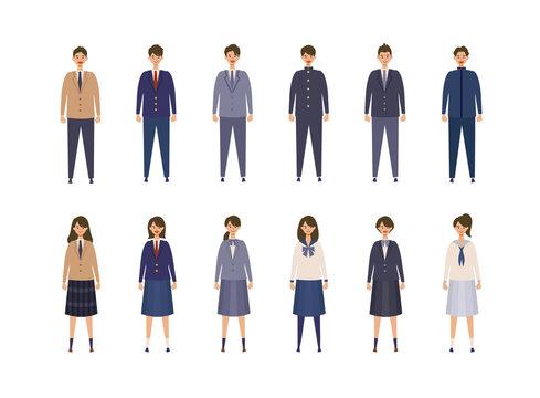 様々な制服を着た男女の高校生、中学生のイラスト 色々なブレザー、学生服を着た学生のベクターイラスト 新入学、学生生活のコンセプトイメージ