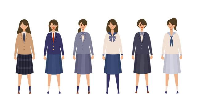 様々な制服を着て直立した女子高生のイラスト 横並びで色々なブレザー、セーラー服を着た女子学生のベクターイラスト