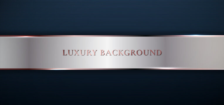 Abstract modern template dark blue background with stripes decoration silver and pink gold line. Luxury style.