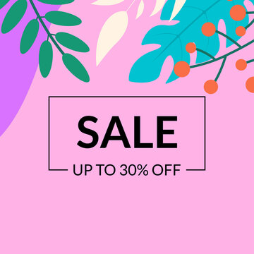 Sale banner template with leaves. Floral discount background with price off for promo card, flyer or poster. Spring and summer Social media backdrop for ad. Vector illustration.