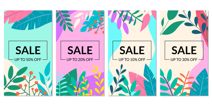 Sale banner template set with leaves for social media story. Floral discount background with price off for promo card, flyer or poster. Spring and summer backdrop for ad. Vector illustration.