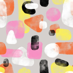 Watercolor shapes collage seamless repeating pattern. Pink, white, orange, and black hand drawn geometric shapes background. Use for kids decor, fabric, packaging