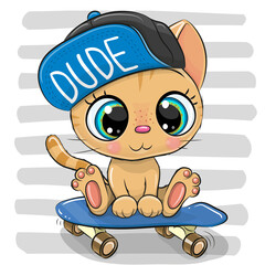 Cartoon Kitten with skateboard on a striped background