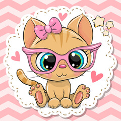 Cartoon orange Kitten girl in pink eyeglasses with a bow
