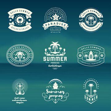 Summer holidays labels and badges retro typography design set.