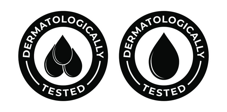 Dermatologically tested vector label with water drop icon.  Dermatologically tested and dermatologist clinically proven for allergy free and healthy safe product package.