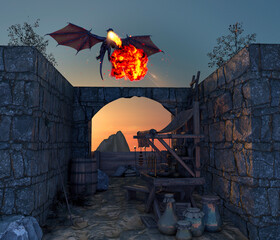 Dragon and medieval outpost, flying dragon that spits fire. Abandoned village. Middle ages and fantasy world. Legends and myths. 3d render