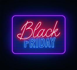 Fototapete - Black Friday neon sign on dark background. Vector illustration.