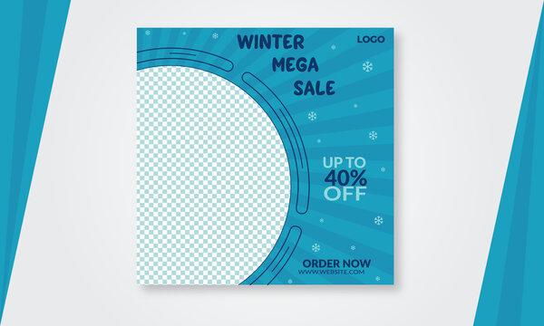 social media post winter fashion sale Facebook Instagram Linkedin advertising  template design