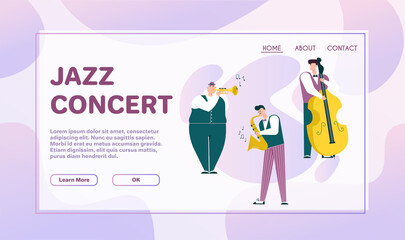 Vector character illustration of jazz band perform music