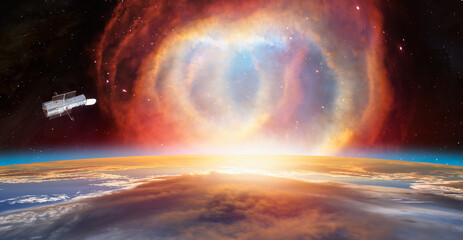 Wall Mural - Planet earth with supernova explosion with Hubble Space Telescope - Deep space abstract sci-fi backgrounds