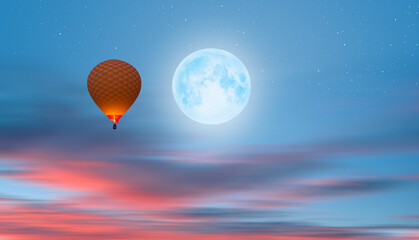 Wall Mural - Night sky with moon in the clouds   with hot air balloon