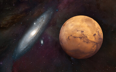 Wall Mural - Planet of Mars with Andromeda galaxy -