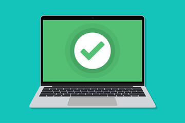 Obraz Laptop with check mark window in a flat design. Mockup of check for laptop in a flat design - fototapety do salonu