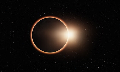 "Ringed solar eclipse ""Elements of this image furnished by NASA """