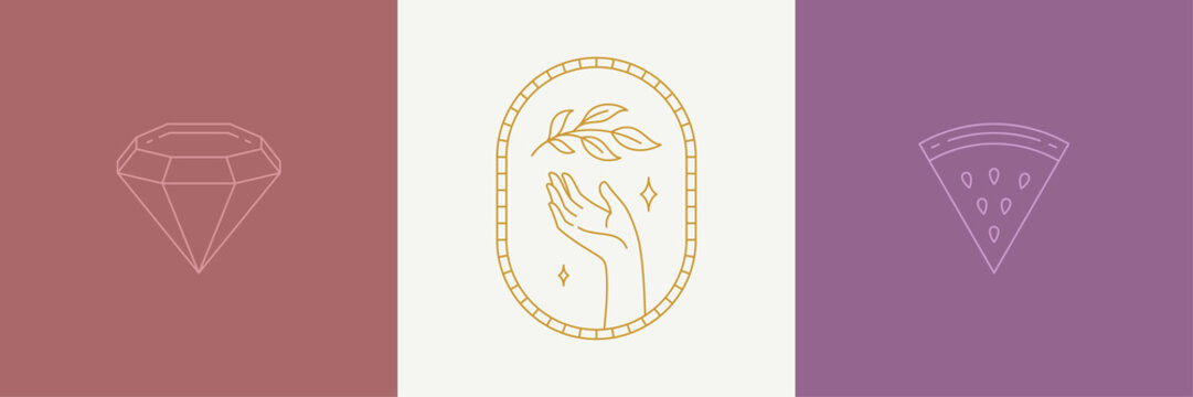 Vector line decoration design elements set - leaves and gesture hand illustrations simple minimal linear style