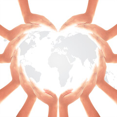 Heart shape of hands and world map