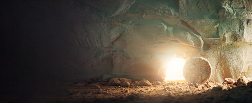 """Christian Easter concept. Jesus Christ resurrection. Empty tomb of Jesus with light. Born to Die, Born to Rise. """"He is not here he is risen"""". Savior, Messiah, Redeemer, Gospel. Alive. Miracle"""