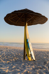 Magnificent view of two surfboards leaning on an umbrella on a beach
