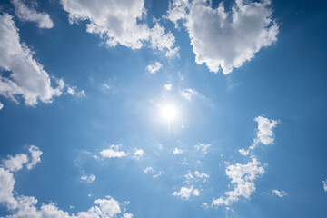 sun, blue sky and clouds photographed upwards, for backgrounds