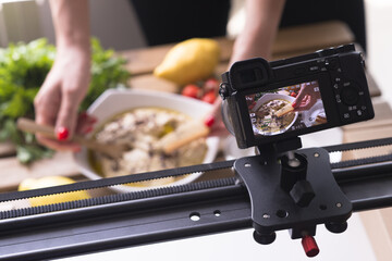 Making a photo or taking a video for cooking class