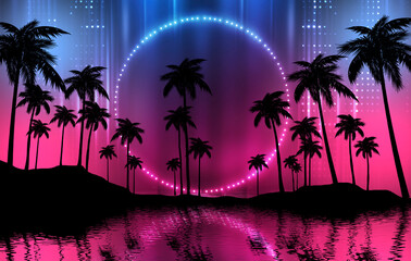 Empty dark tropical background of night sea beach, neon light, city lights. Silhouettes of tropical palm trees on a background of bright abstract sunset. Modern futuristic landscape. 3d illustration