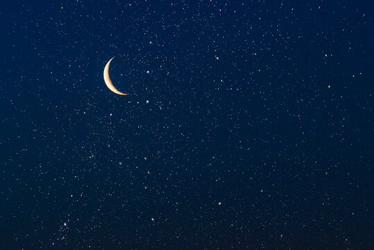 Real sky with stars and crescent