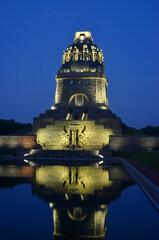 Leipzig, Germany beautiful illumination Battles of the Nations monument by night