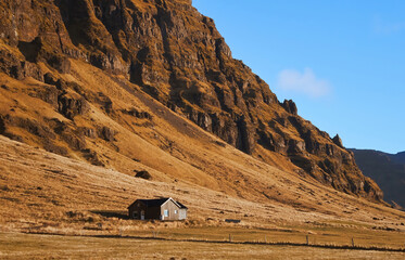 Iceland landscape with house mountain panorama beautiful islandic hills nature outdoor