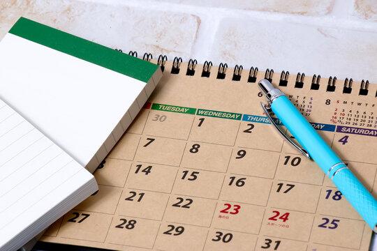 カレンダー、文具、ボールペン、ノート、暦、文房具、ペン、メモ、メモ帳、学校、仕事、ビジネス、管理、年月日、タイム、時間、diary、ダイアリー、オフィス、予定