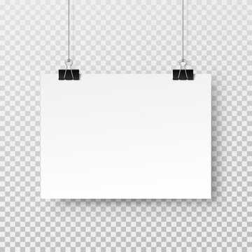Blank paper sheet hanging on binder clip isolated on transparent background. Vector white poster or banner with shadow A4 format mockup