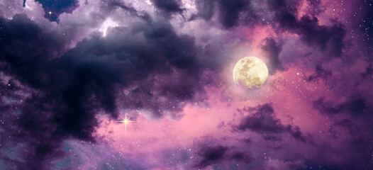Fotobehang Aubergine Background of full moon with colorful night sky and stars.