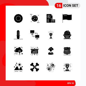 Set of 16 Modern UI Icons Symbols Signs for file, weapon, money, star wars, mark
