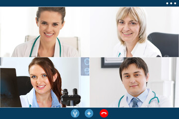 video call of medicine workers share ideas remotely