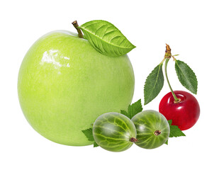 Wall Mural - apple ,gooseberry and cherry on a white background