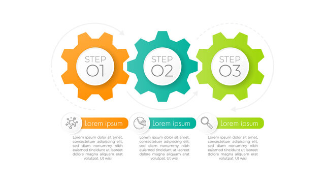Minimal infographics gear design vector and icons can be used for workflow layout, diagram, annual report. Vector infographics timeline design template with 3 options, parts, steps or processes.